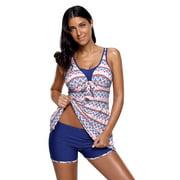 Women Swimwear Tankini Swimsuit Celebrity Aztec Print Bow Tie Detail and Shorts (Small,MultiColor)