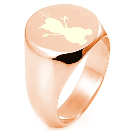 Rose Gold Plated Sterling Silver Disney Frozen Olaf Engraved Round Flat Top Polished Ring (Olaf Plates)