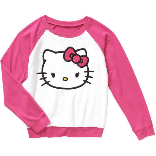 Hello Kitty Girls' Long Sleeve Scoop Neck Minky Sweatshirt