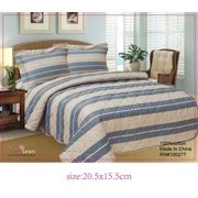 French Braided Stripe High Quality Fully Quilted Three Piece Quilt Set - Quilt, Pillow Sham, Sheet,