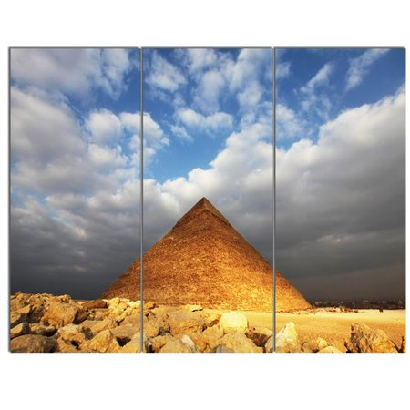 Design Art 'Egyptian Pyramid under Bright Sky' 3 Piece Photographic Print on Wrapped Canvas Set