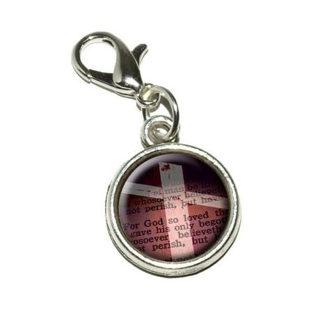 Cross and Bible Verse John 3-16 For God So Loved the World Bracelet Charm