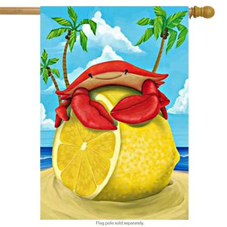 Lemon Crab Nautical Summer House Flag Palm Tree Ocean Beach Banner  29