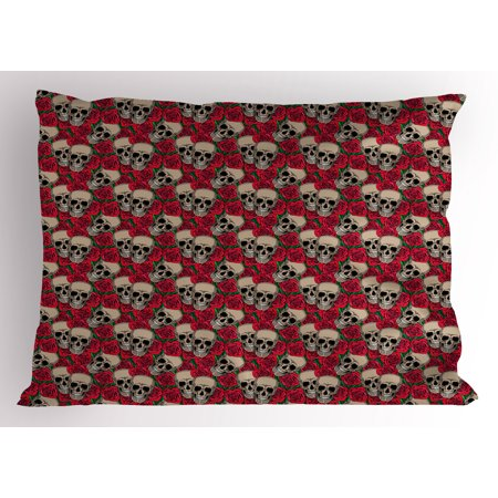 Halloween Inspired Names (Rose Pillow Sham Graphic Skulls and Red Rose Blossoms Halloween Inspired Retro Gothic Pattern, Decorative Standard Size Printed Pillowcase, 26 X 20 Inches, Vermilion Tan Green, by)