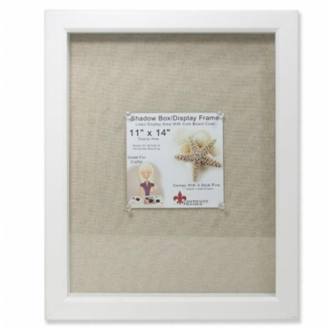 Lawrence Frames 168111 Shadow Box Frame With Linen Inner Display Board - White, 0. 79 inch