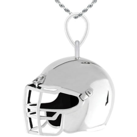 - New 0.925 Sterling Silver Large 3D Football Helmet Charm Pendant Necklace