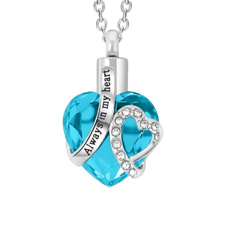 SmartChoice Keepsake Rhinestone Necklace Heart Pendant for Cremation Ashes with Beautiful Presentation Gift Box, Elegant Memorial Jewelry with Stainless Chain and