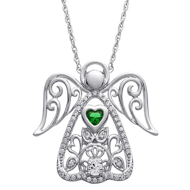 MBM Company INC Sterling Silver Always My Angel Birthstone Pendant