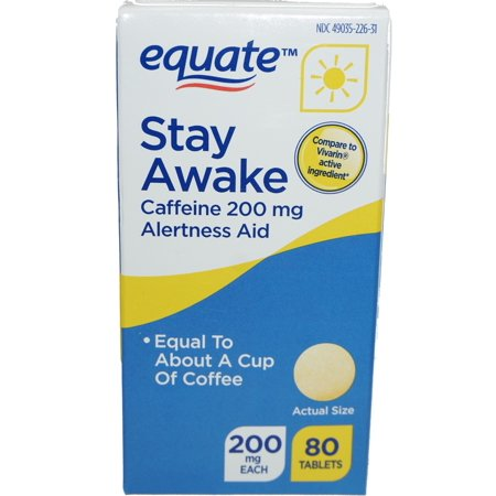 Equate Stay Awake Caffeine Alertness Aid Tablets, 200 mg