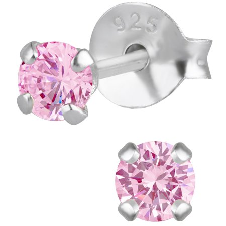 Pink Nickels (Hypoallergenic Sterling Silver 3mm Pink CZ Simulated Diamond Stud Earrings for Kids (Nickel)
