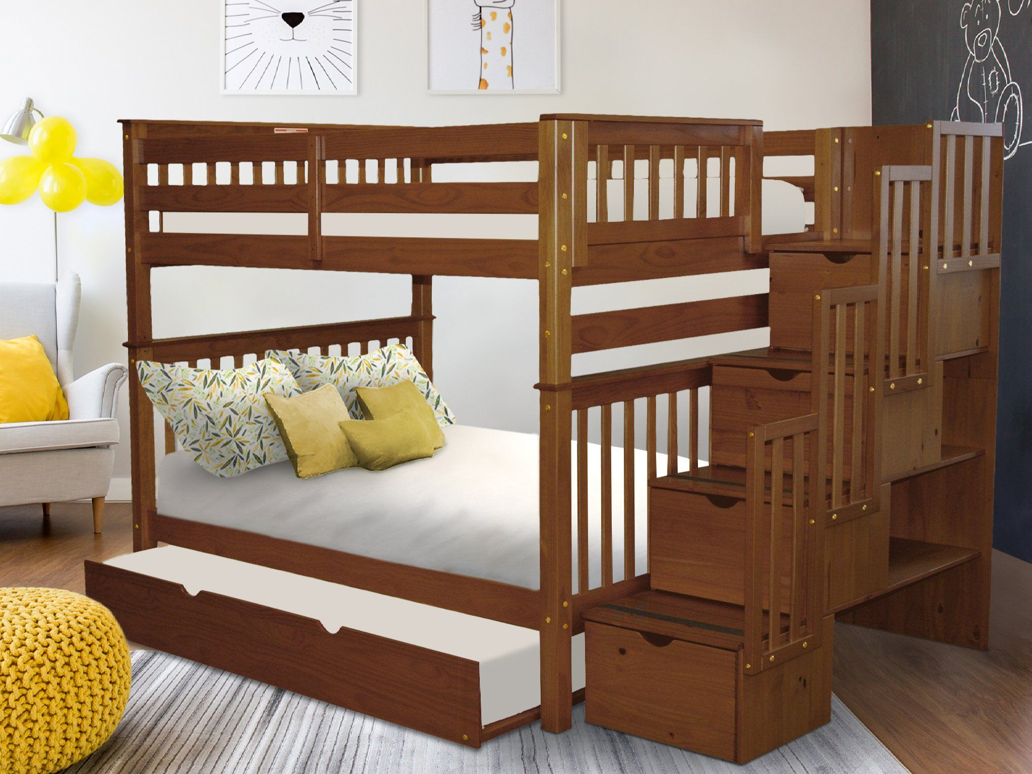 Bedz King Stairway Bunk Beds Full Over Full With 4 Drawers In The Steps And A Twin Trundle Espresso Walmart Com Walmart Com