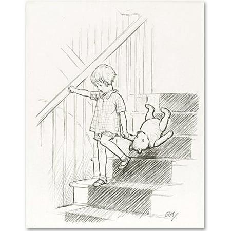 Lone Star Art Stairs v2 - Winnie the Pooh 11x14 Unframed Nursery Art Print