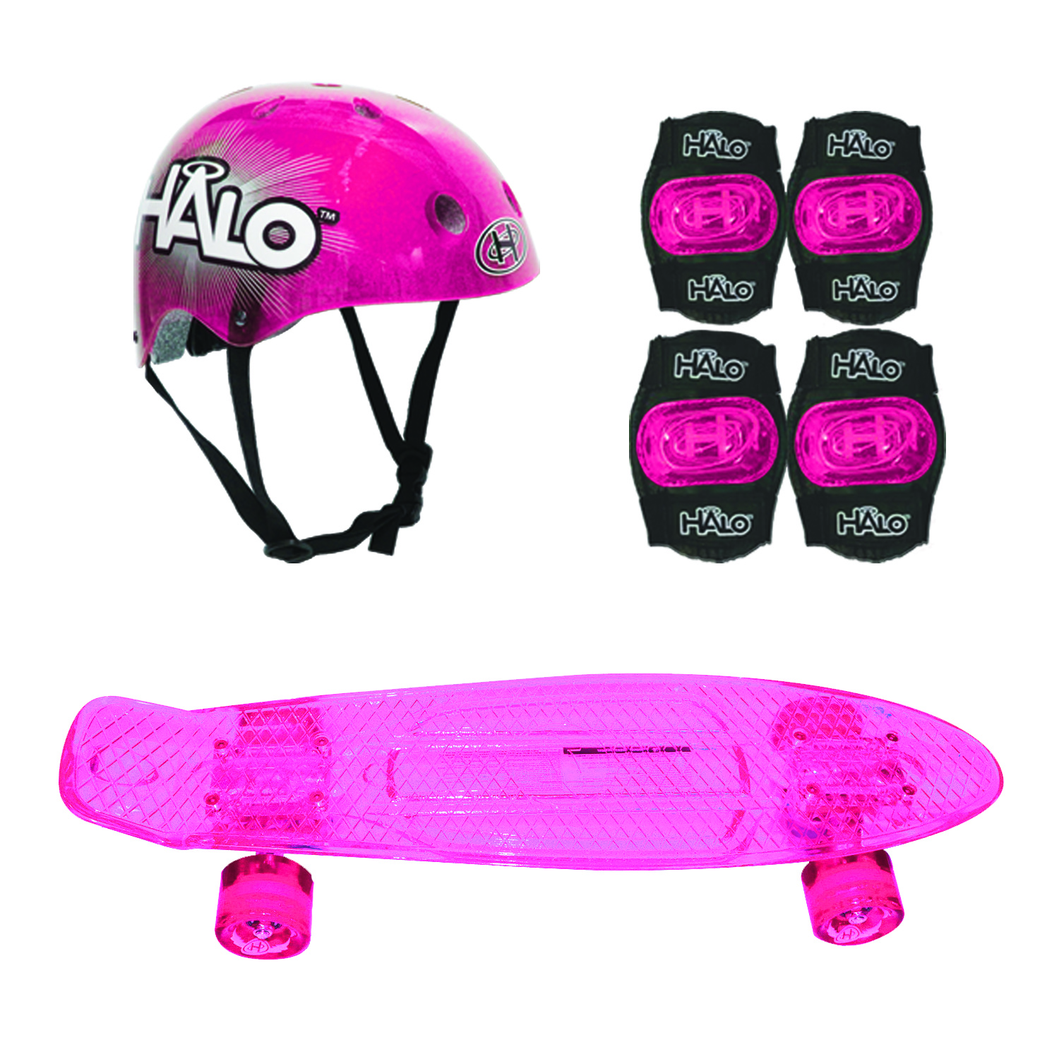 HALO Rise Above Skateboard Combo Set Pink by GILLYBOO CORPORATION
