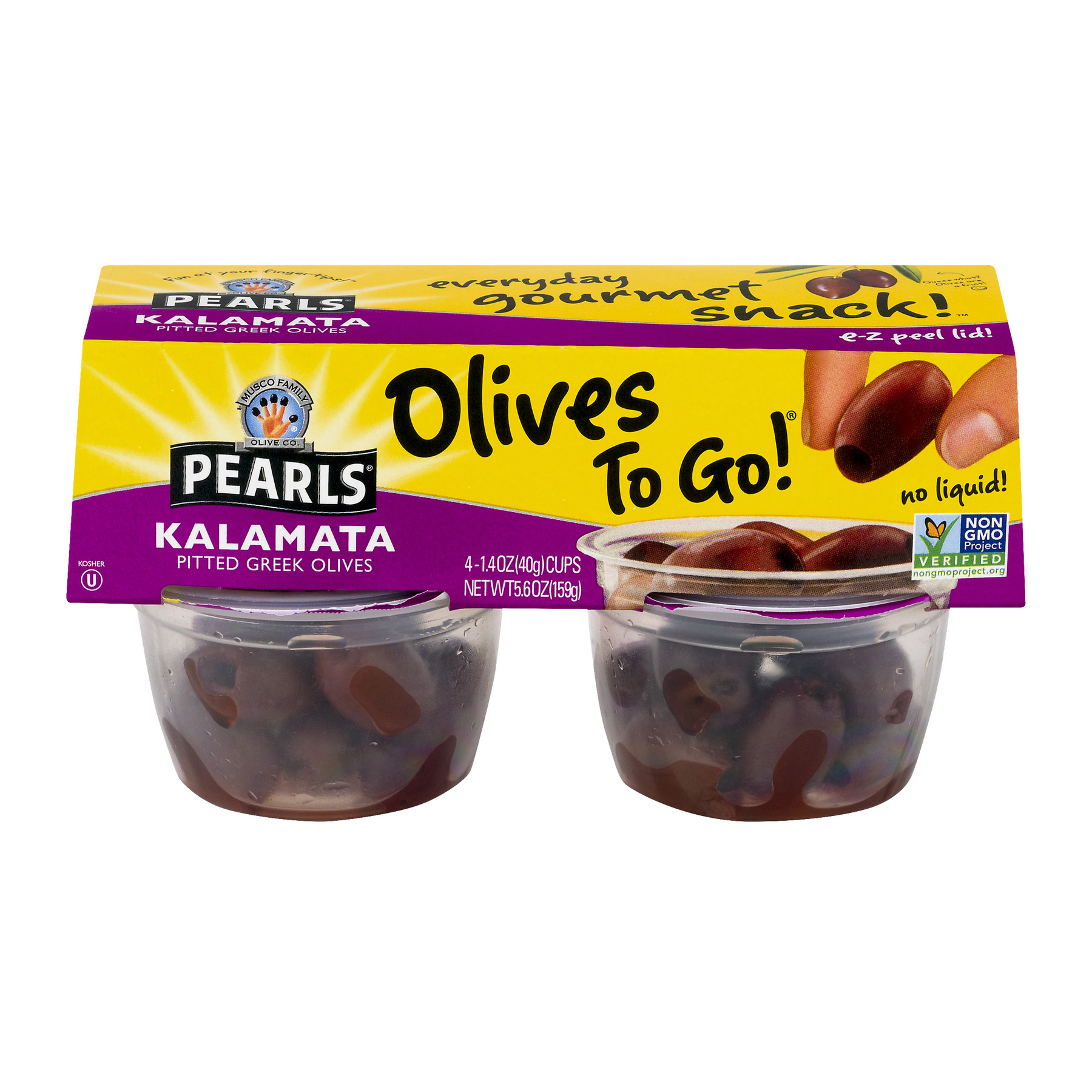 (2 Pack) Musco Family Olive Co. Pearls Kalamata Pitted Greek Olives - 4 PK, 1.4 OZ