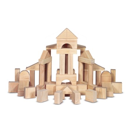 Melissa & Doug Standard Unit Solid-Wood Building Blocks With Wooden Storage Tray (60 pcs) ()