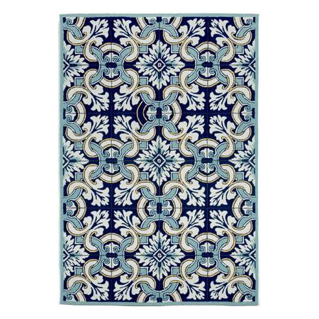 Liora Manne Ravella Floral Tile Blue Area Rug