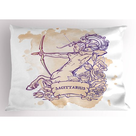 Zodiac Sagittarius Pillow Sham Roses and Long Haired Centaur Archer on Stained Grunge Background, Decorative Standard Size Printed Pillowcase, 26 X 20 Inches, Beige and Purple, by Ambesonne