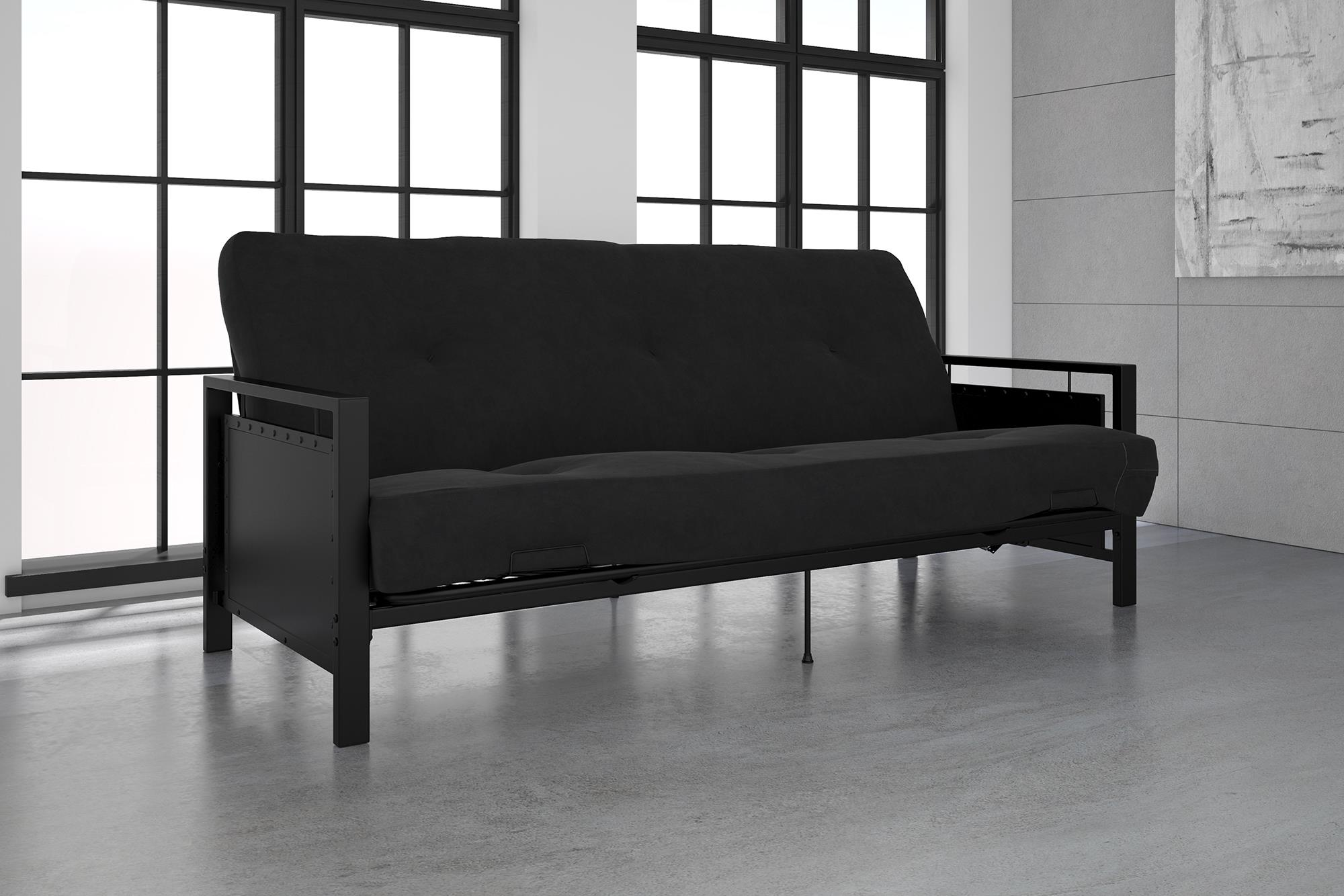 DHP Henley Black Metal Arm Futon Frame with Coil Full Futon Mattress, Multiple Colors and Sizes by Dorel Home Products