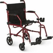 Medline Ultralight Transport Wheelchair, Folding Transport Chair, Permanent Armrest, Swing Away Footrest, 8 inch Wheels, Red Frame