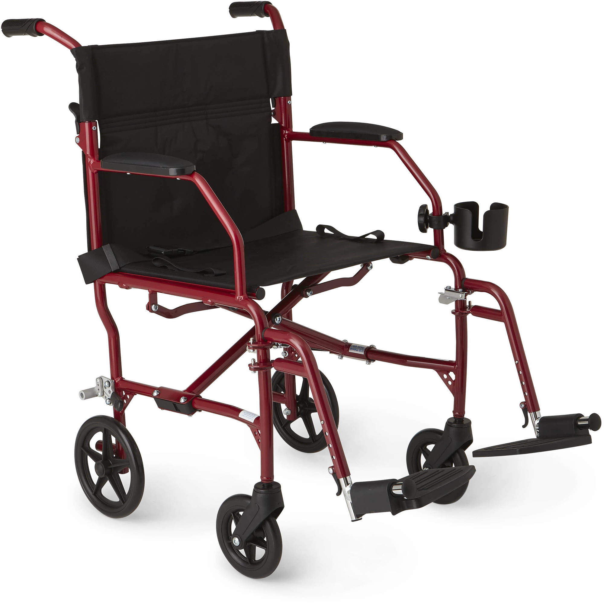 "Medline Ultralight Transport Wheelchair with 19"" x 16"" Seat, Red"