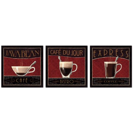 Classic Brown and Red Bistro, Cafe and Coffee Print Set by Marco Fabiano; Kitchen Decor; Three 12x12in Unframed Posters
