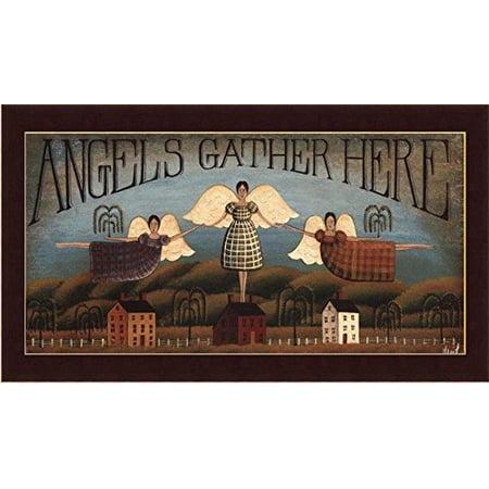 buyartforless Framed  Angels Gather Here By David Harden Folk Art Art Print Primitive Country Red Frame, 20 X 10