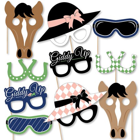 Kentucky Horse Derby Glasses/Masks/Headpieces - Paper Card Stock Horse Race Party Photo (Rare Glass)