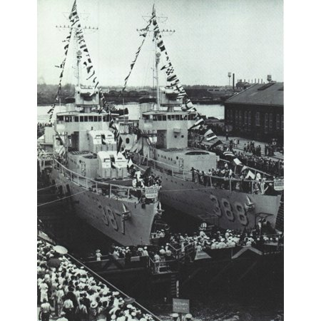 LAMINATED POSTER Launch of the U.S. Navy destroyers USS Blue (DD-387) and USS Helm (DD-388) at the Norfolk Naval Ship Poster Print 24 x 36