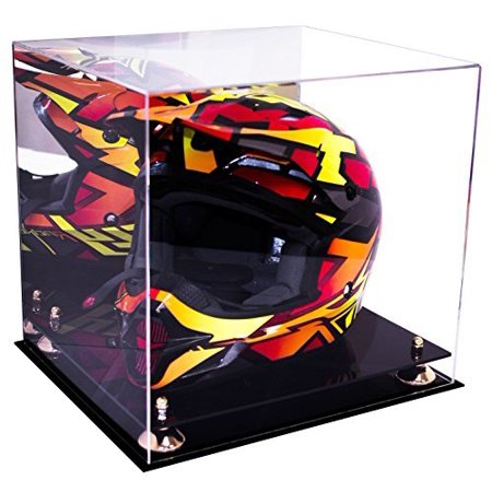 Deluxe Acrylic Motorcycle Motocross or Nascar Racing Helmet Display Case with Gold Risers and Mirror (A024-GR) - Master Chief Deluxe Helmet