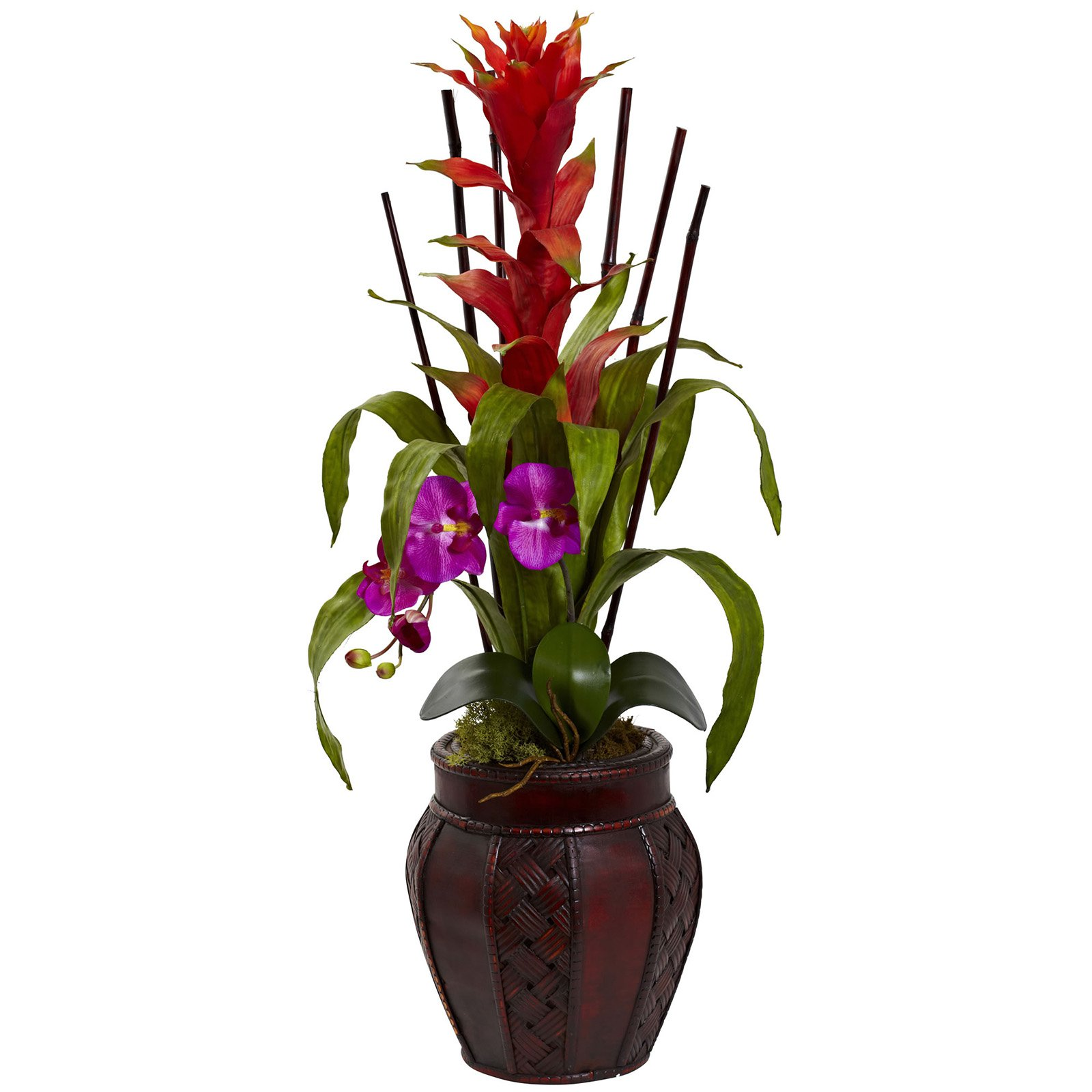 Nearly Natural Bromeliad and Orchid Combo Silk Flower