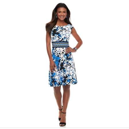 London Times Women Cap Sleeve Printed Fit and Flare Dress - London Womens Dress
