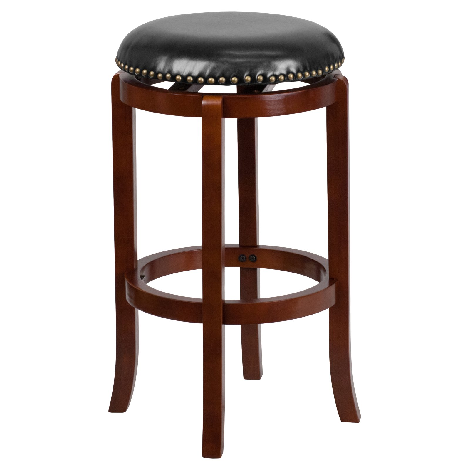 Flash Furniture 29'' Backless Light Cherry Wood Barstool with Black Leather Swivel Seat