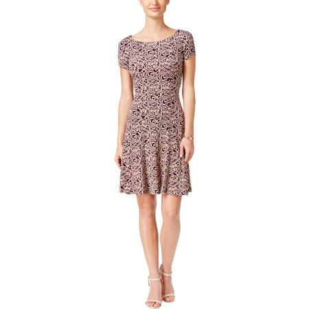 Connected Apparel Womens Printed A-line Party Dress