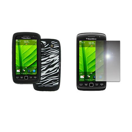 EMPIRE BlackBerry Torch 9860 9850 Black with White Zebra Stripes Design Silicone Skin Case Cover + Mirror Screen Protector [EMPIRE Packaging] ()