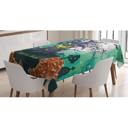 Halloween Decorations Tablecloth, Trick or Treat Dead Forest with Spooky Tree Graves Big Kids Cartoon Art, Rectangular Table Cover for Dining Room Kitchen, 60 X 84 Inches, Multi, by - Printable Halloween Spooky Tree