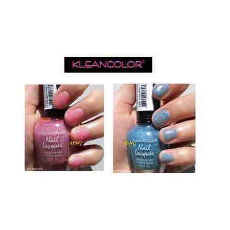 LWS LA Wholesale Store  2 PCS set HOLO BLUE & PINK Kleancolor Nail Polish Holographic Glitter OPI 44 - Punk Wholesale