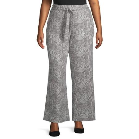 Terra & Sky Women's Plus Size Animal Print Wide Leg Pant Plus Size Wide Leg Drawstring Pant