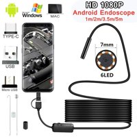 Willstar 1M/2M/3.5M/5M 7.0mm Endoscope Camera 1080P HD USB Endoscope with 86LED Cable Waterproof Inspection Borescope for Android PC