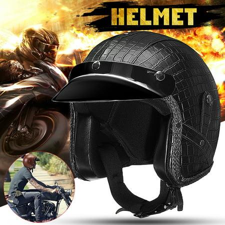 Motorcycle 3/4 Open Helmet PU Leather Alligator Pattern M/ L/ XL Classic - Simpson Helmet Visors