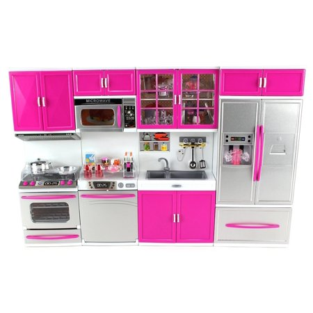 My Modern Kitchen 32 Full Deluxe Kit Battery Operated Kitchen Playset: Refrigerator, Stove, Sink, (My Little Snugamonkey Deluxe Rock N Play Sleeper)