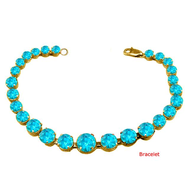 Fine Jewelry Vault UBUBRBK7205AGVYBT December Birthstone Prong Set Created Blue Topaz Bracelet in 18kt Yellow Gold over... by Fine Jewelry Vault