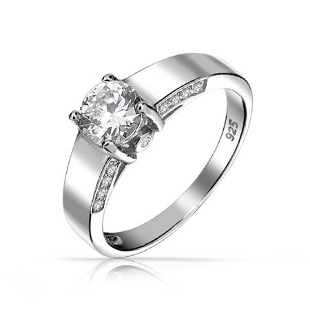 Art Deco Style 1.5 CT Brilliant Round Solitaire U set Pave Band AAA CZ Engagement Ring For Women 925 Sterling Silver