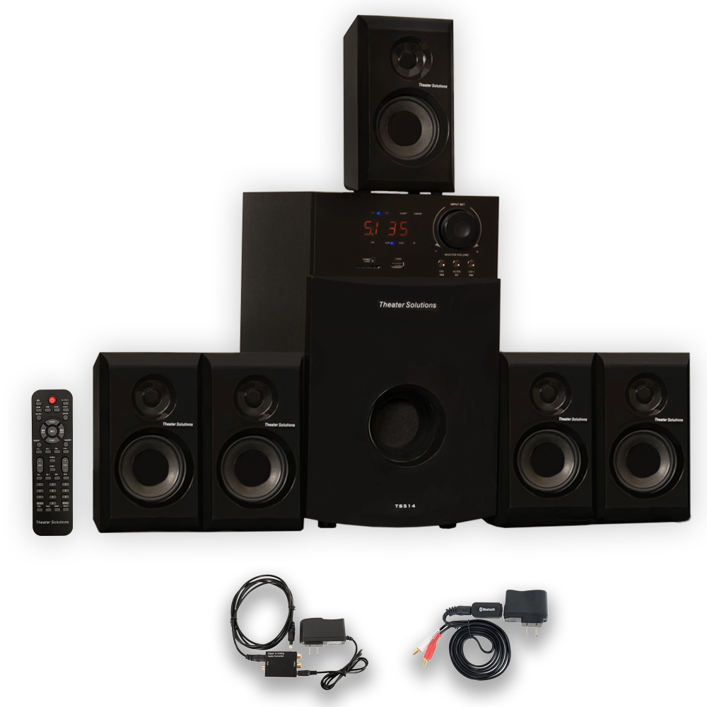 Theater Solutions TS514 Home 5.1 Speaker System with Bluetooth USB FM and Optical Input