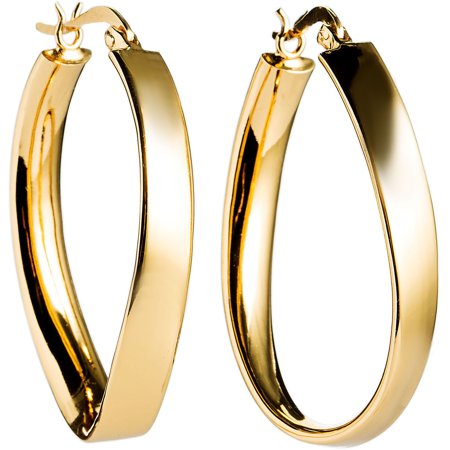Beaux Bijoux Sterling Silver Gold-Plated 25mm x 35mm Twisted Hoop Earrings (Multiple colors available)