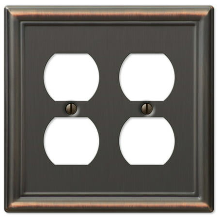 Double Duplex 2-Gang Decora Wall Switch Plate, Oil Rubbed Bronze