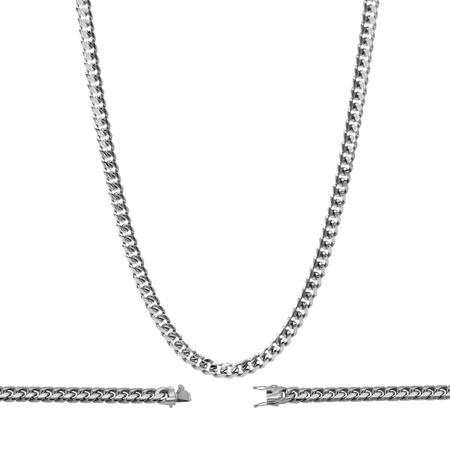 BEBERLINICuban Link Miami Silver Necklace Cuban Chain Stainless Steel Fashion Men Women Jewelry 8 mm Width 30