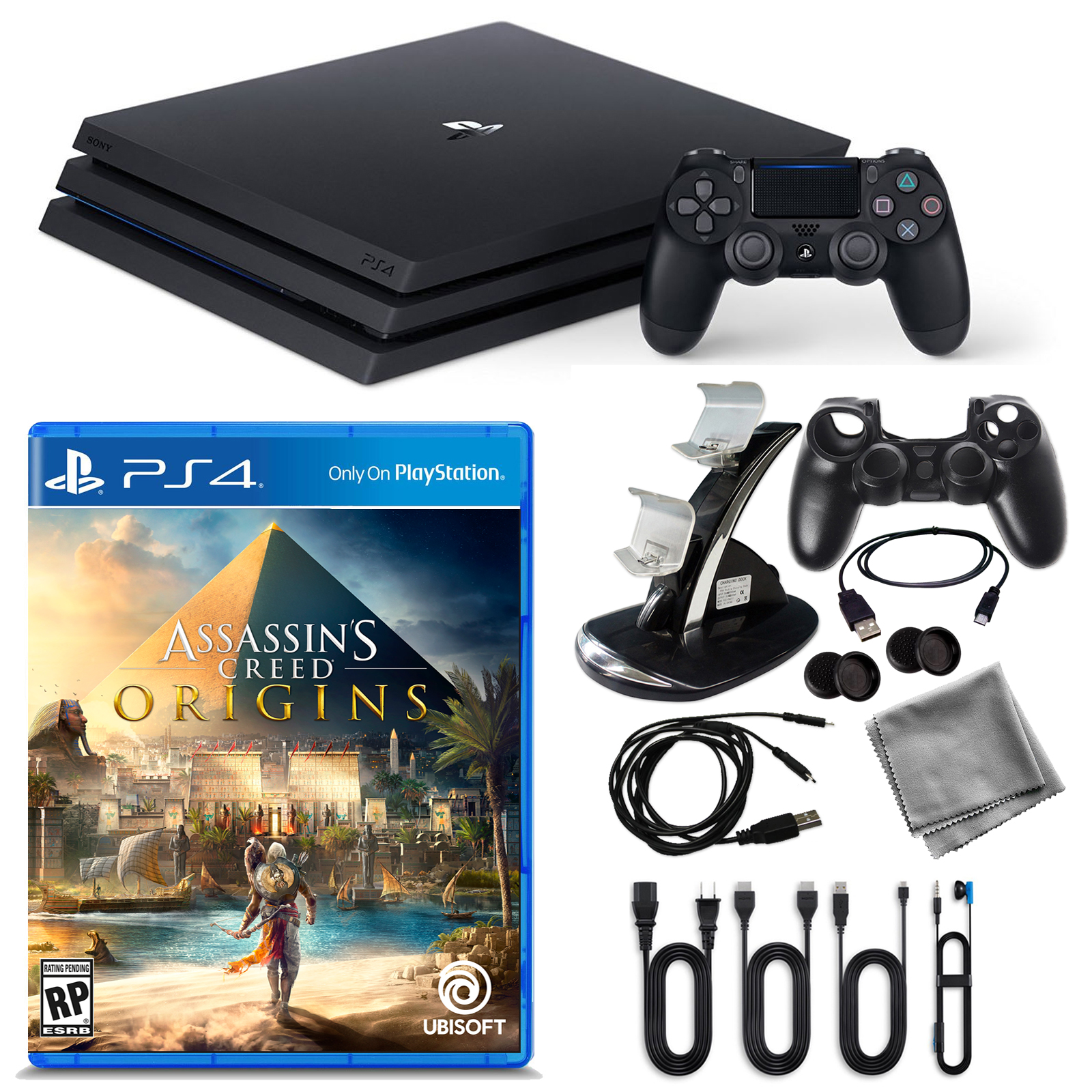 PlayStation 4 Pro 1TB Console with Assassin's Creed Origins and Accessories