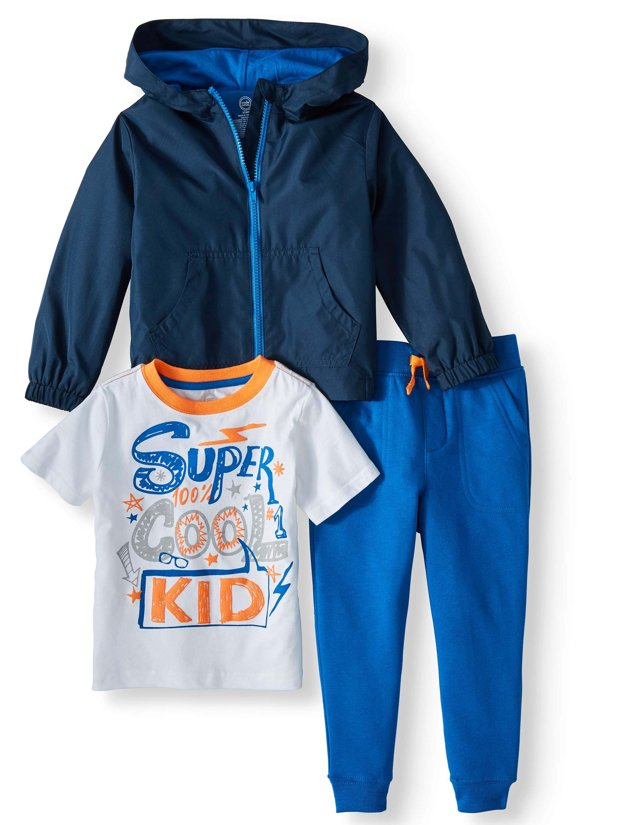 T-Shirt, Jogger Pants, & Zip Up Lightweight Hooded Raincoat, 3pc Outfit Set (Toddler Boys)