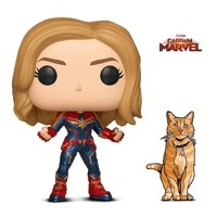 Warp Gadgets Bundle - Funko Pop Marvel Captain Marvel and Figpin Mini - Captain Marvel Goose The Cat - Collectible Enamel Pin (2 Items)