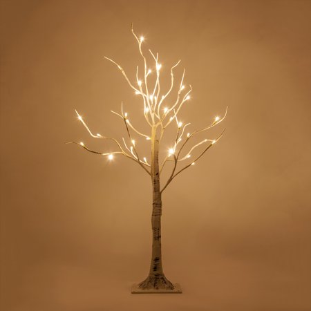 3 Ft LED White Birch Twig Tree Light, 36 Warm White LED Lights, Flexible Decorative Branches, Indoor/Covered Outdoor, Low Voltage